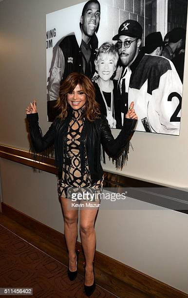 Singer Paula Abdul poses backstage during the first ever iHeart80s Party at The Forum on February 20 2016 in Inglewood California