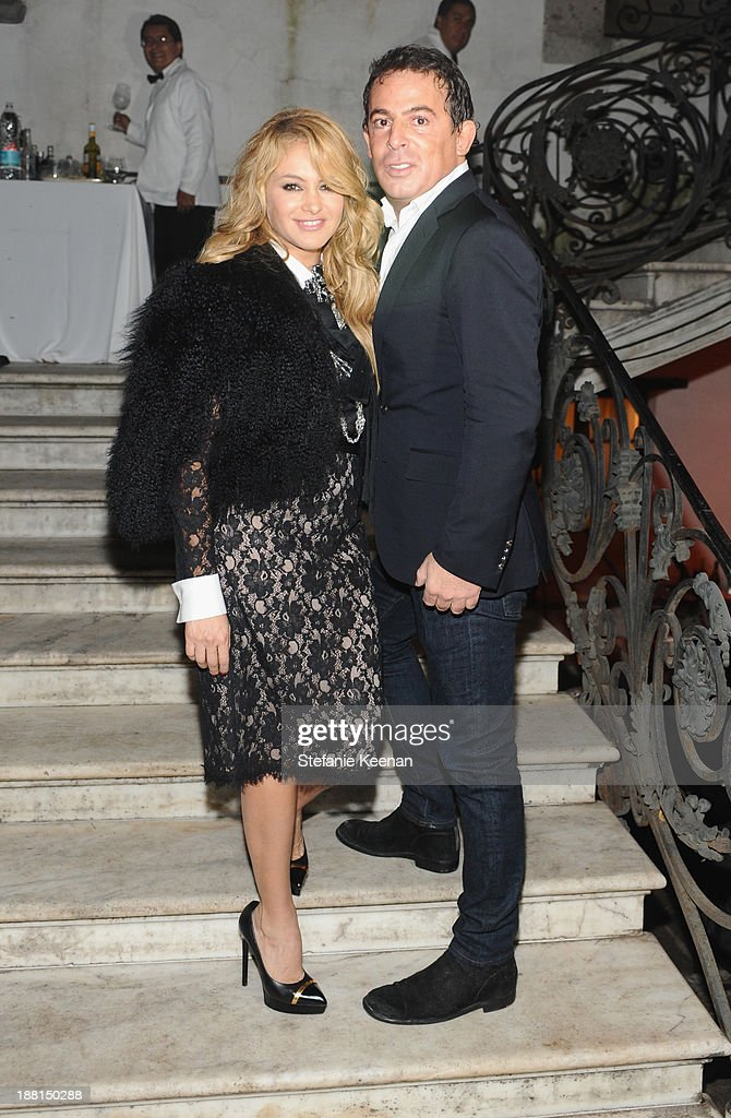 Singer Paulina Rubio and Founder of Jumex Foundation Eugenio Lopez attend Museo Jumex Opening welcome dinner at Casa De La Bola on November 15, 2013 in Mexico City, Mexico.