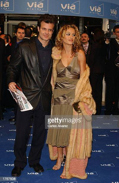 Singer Paulina Rubio and her husband Ricardo Bofil arrive at the 27th Spanish Cinema Goya Awards February 1 2003 at Palacio de Congresos in Madrid...