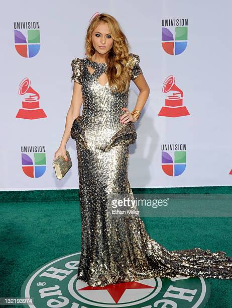 Singer Paulina Rubio arrives at the 12th annual Latin GRAMMY Awards at the Mandalay Bay Resort Casino on November 10 2011 in Las Vegas Nevada