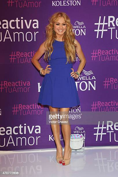 Singer Paulina Rubio attends the Wella Koleston campaing launch press conference at Presidente Intercontinental hotel on April 22 2015 in Mexico City...