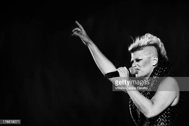 Singer Peaches performs during the 66th Locarno Film Festival on August 14 2013 in Locarno Switzerland