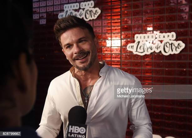 Singer Pedro Capo is interviewed during HBO Latino x Pedro Capo En Letra de Otro at La Marina Restaurant Bar Beach Lounge on August 9 2017 in New...