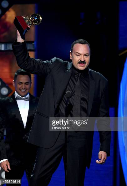 Singer Pepe Aguilar accepts the Latin Grammy Award for Best Ranchero Album for 'Lastima Que Sean Ajenas' onstage during the 15th Annual Latin GRAMMY...
