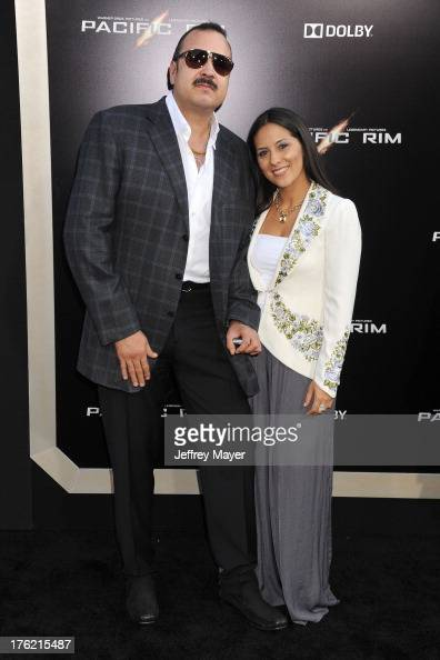 Singer Pepe Aguilar and wife Aneliz Aguilar arrive at the 'Pacific Rim' Los Angeles Premiere at Dolby Theatre on July 9 2013 in Hollywood California