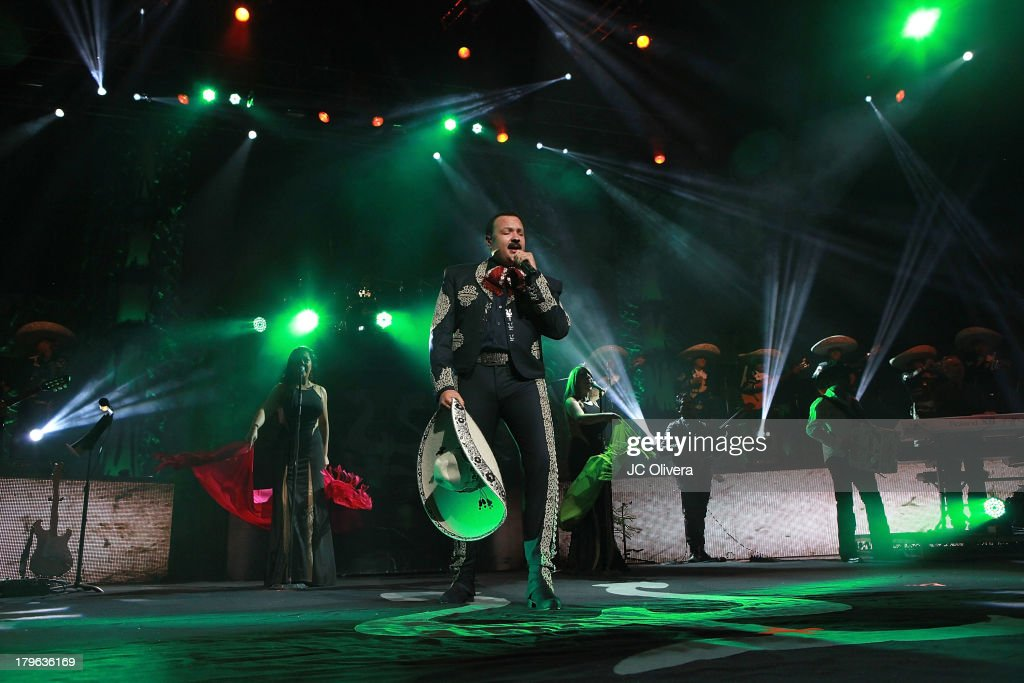 Singer Pepe Aguilar performs on stage at the Gibson Amphitheatre on September 5, 2013 in Universal City, California.