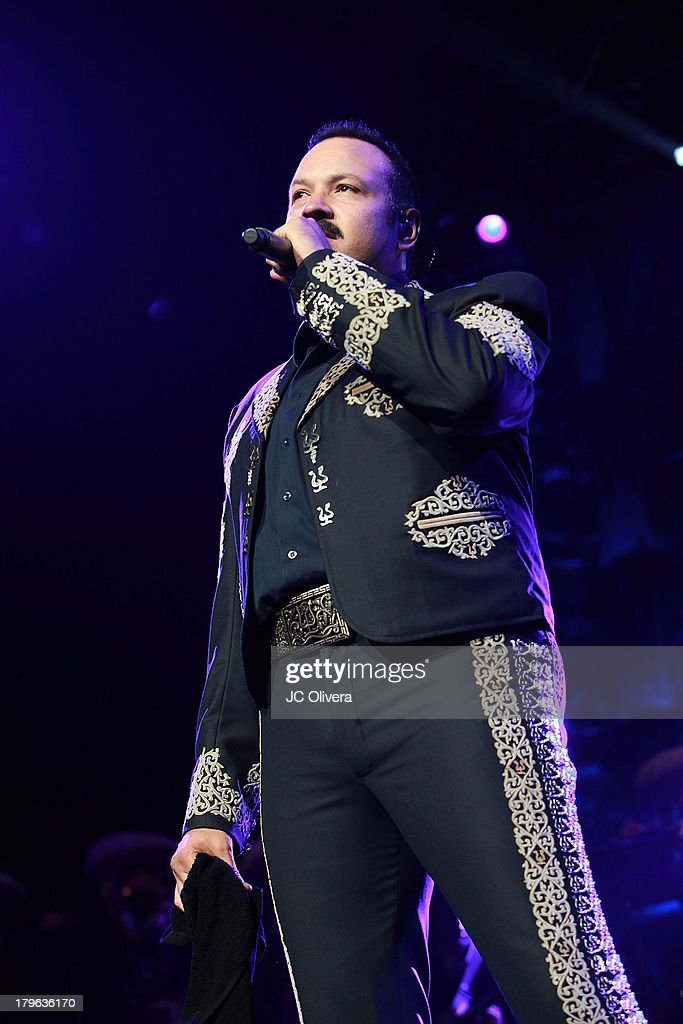Singer <a gi-track='captionPersonalityLinkClicked' href=/galleries/search?phrase=Pepe+Aguilar&family=editorial&specificpeople=2496118 ng-click='$event.stopPropagation()'>Pepe Aguilar</a> performs on stage at the Gibson Amphitheatre on September 5, 2013 in Universal City, California.