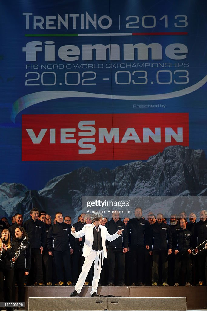 Singer performs during the Opening Ceremony of the FIS Nordic World Ski Championships at the Piazza Duomo on February 20, 2013 in Trento, Italy.