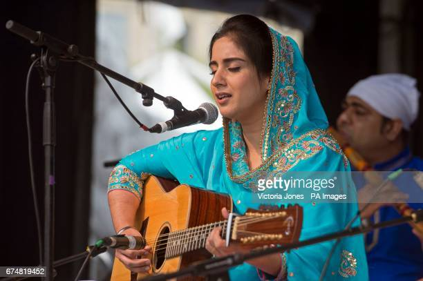 A singer performs during the Vaisakhi Festival 2017 in Trafalgar Square central London to mark the Sikh New Year the holiest day of the calendar for...