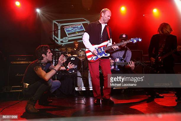 Singer Perry Farrell and musicians Wayne KramerTom Morello and Carl Restivo perform during the Road Recovery Benefit Concert 2009 at Nokia Theatre...