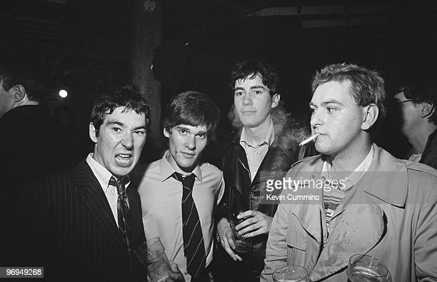 Singer Pete Shelley drummer John Maher guitarist Steve Diggle and bassist Garth Smith of English punk band the Buzzcocks at the Ranch Club in...