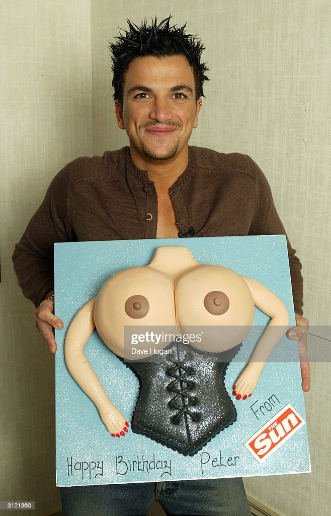 Singer Peter Andre celebrates his 31st birthday with a cake inspired by fellow 'I'm A Celebrity, Get Me Out Of Here' contestant and glamour model Jordan on February 27, 2004 in London.