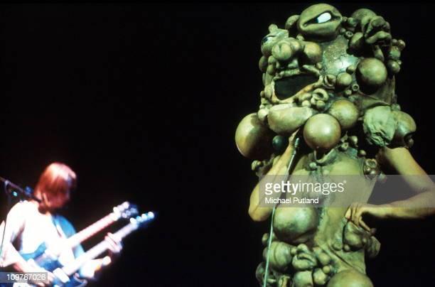 Singer Peter Gabriel of Genesis performing on stage circa 1974