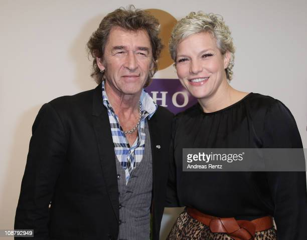 Singer Peter Maffay and TV host Ina Mueller attend the Echo 2011 Award press conference at Messe Berlin on February 3 2011 in Berlin Germany The Echo...