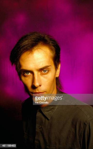 Singer Peter Murphy with the band Bauhaus in a posed portrait 1982