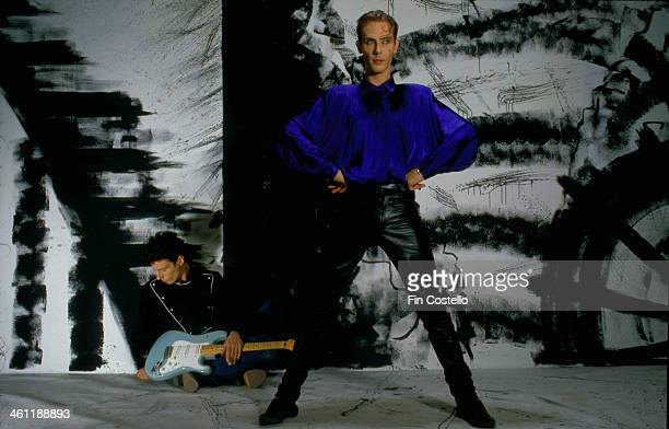 Singer Peter Murphy with the band Bauhaus in a posed portrait 1986