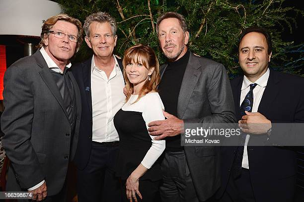 Singer Peter Noone musician David Foster guest Larry Ellison and producer Michael Marto attend The Israeli Consulate Celebrates Israel's 65th...