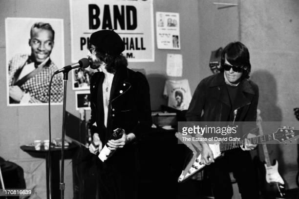 Singer Peter Wolf and guitarist J Geils of the R and B influenced blues rock band The J Geils Band rehearse on May 20 1977 in Boston Massachusetts