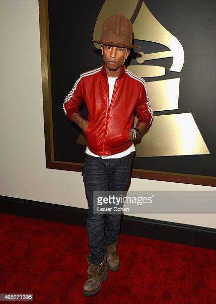 Singer Pharrell attends the 56th GRAMMY Awards at Staples Center on January 26 2014 in Los Angeles California