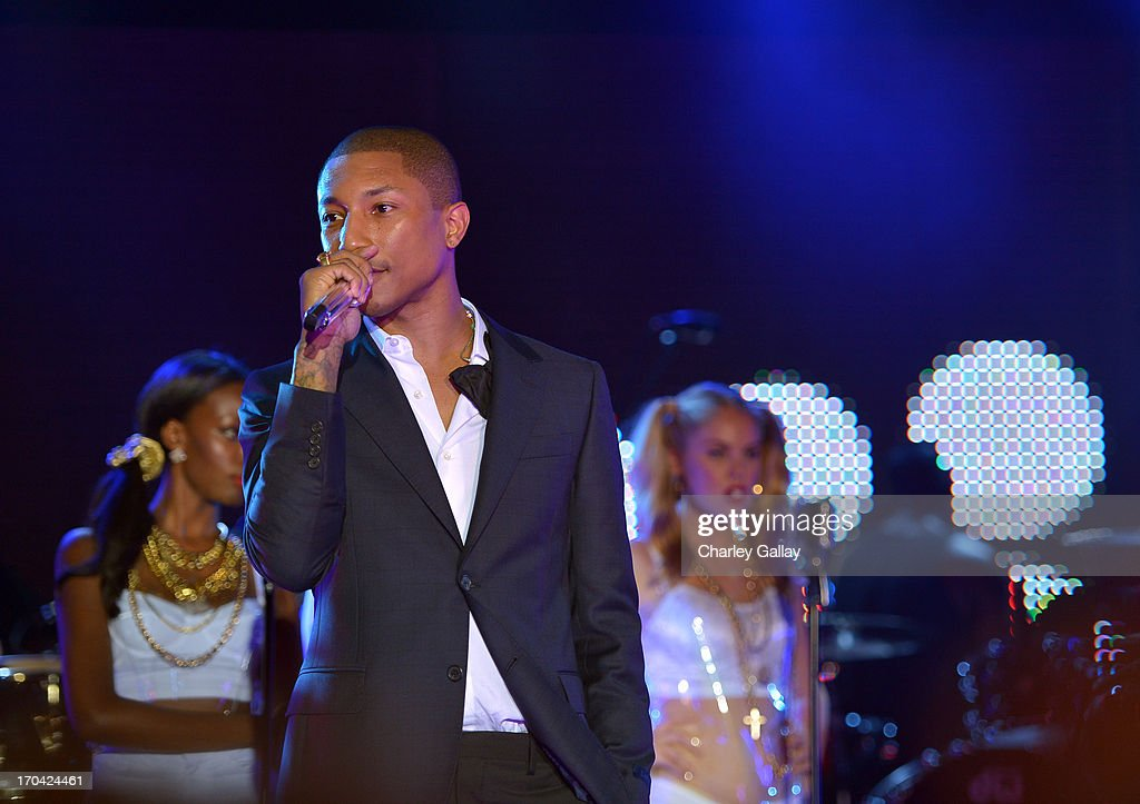Singer Pharrell attends the new Myspace launch event at the El Rey Theatre on June 12, 2013 in Los Angeles, California.
