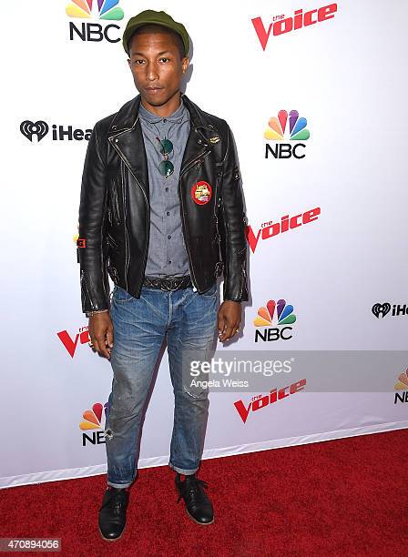 Singer Pharrell Williams arrives at NBC's 'The Voice' Season 8 red carpet event at Pacific Design Center on April 23 2015 in West Hollywood California