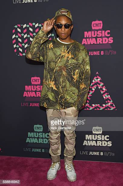 Singer Pharrell Williams attends the 2016 CMT Music awards at the Bridgestone Arena on June 8 2016 in Nashville Tennessee