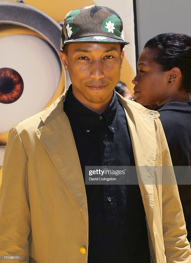 Singer Pharrell Williams attends the premiere of Universal Pictures' 'Despicable Me 2' at the Gibson Amphitheatre on June 22, 2013 in Universal City, California.