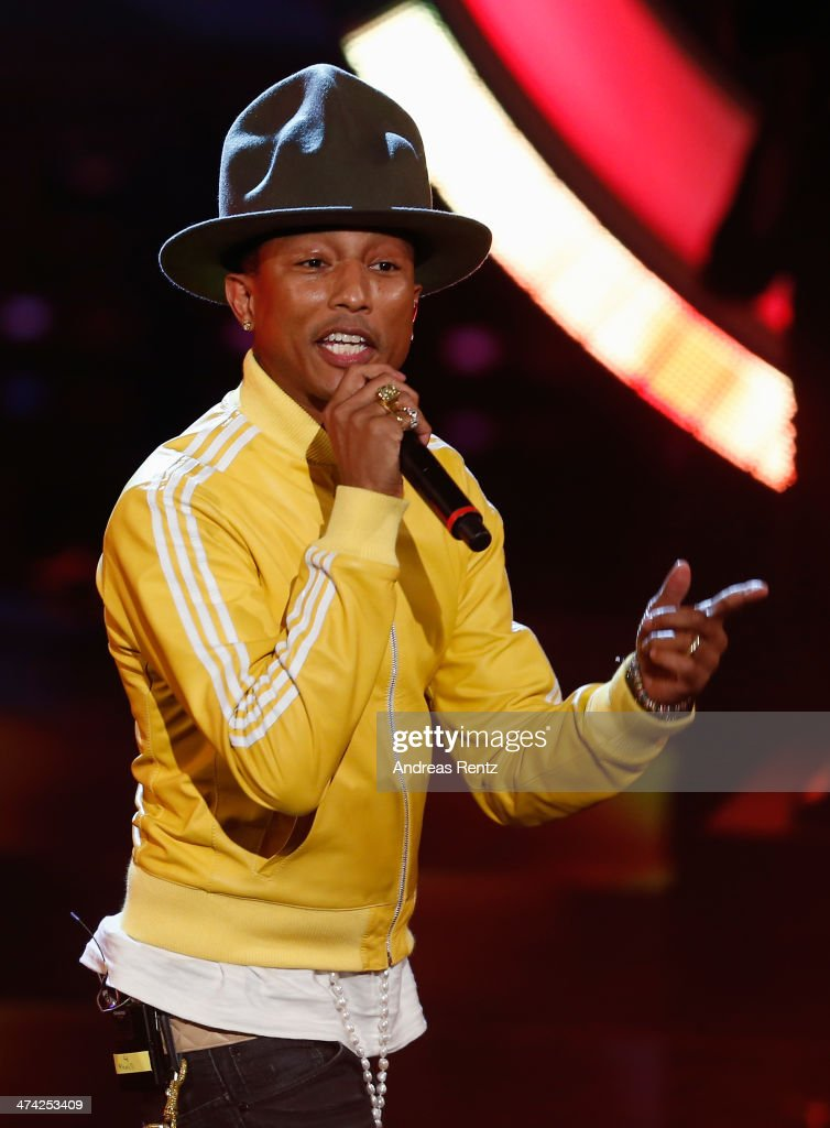 Singer <a gi-track='captionPersonalityLinkClicked' href=/galleries/search?phrase=Pharrell+Williams&family=editorial&specificpeople=161396 ng-click='$event.stopPropagation()'>Pharrell Williams</a> performs on stage during the 'Wetten, dass..?' TV Show from Dusseldorf at the ISS Dome on February 22, 2014 in Duesseldorf, Germany..
