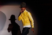 Singer Pharrell Williams performs on stage during the 'Wetten dass' TV Show from Dusseldorf at the ISS Dome on February 22 2014 in Duesseldorf Germany