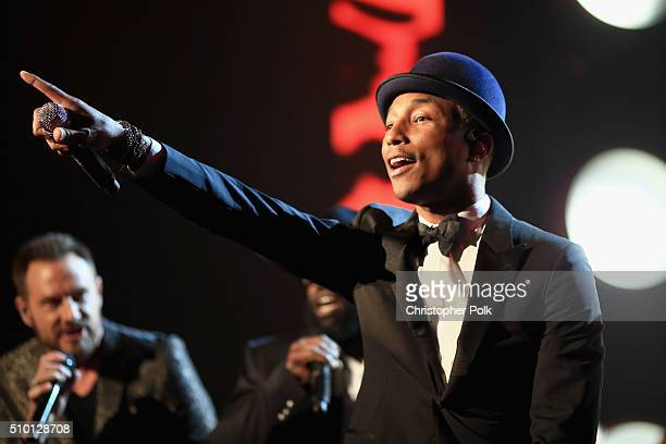 Singer Pharrell Williams performs onstage during the 2016 MusiCares Person of the Year honoring Lionel Richie at the Los Angeles Convention Center on...