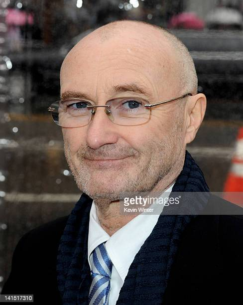 Singer Phil Collins arrives at the premiere of Relativity Media's 'Mirror Mirror' at the Chinese Theater on March 17 2012 in Los Angeles California
