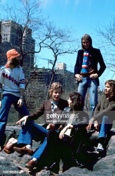 Singer Phil Collins drummer Bill Bruford guitarist Steve Hackett bassist Mike Rutherford and keyboard player Tony Banks in Central Park New York City...