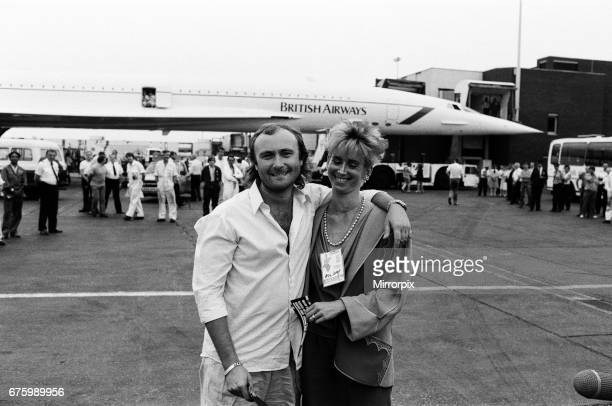 Singer Phil Collins wife Jill Travelman at London Heathrow Airport 13th July 1985 Phil Collins is about to board a Concorde flight to USA in order to...