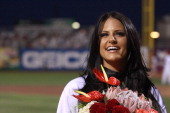 Singer Pia Toscano attends the Brooklyn Cyclones vs the TriCity Valley Cats of Troy game at MCU Park on August 22 2011 in New York City