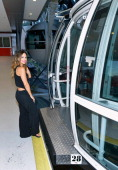 Singer Pia Toscano rides on the world's tallest observation wheel The High Roller at The LINQ on June 24 2014 in Las Vegas Nevada