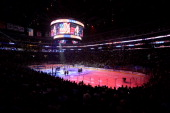 Singer Pia Toscano sings the national anthem before the Los Angeles Kings take on the New York Rangers in Game Five of the 2014 Stanley Cup Final at...