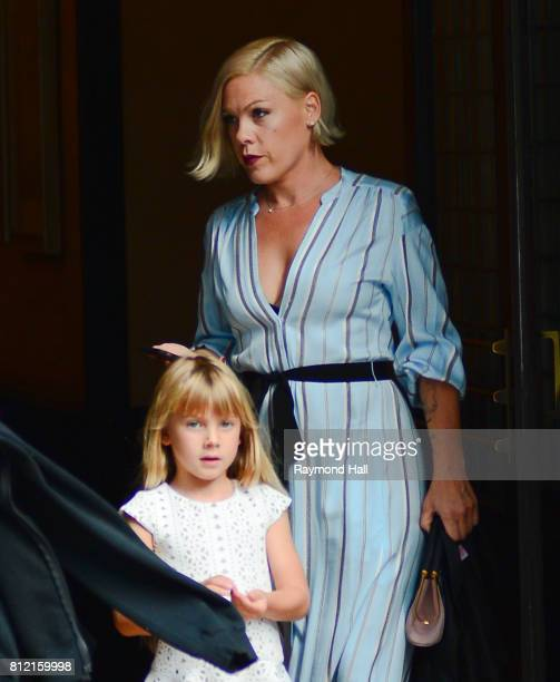 Singer Pink and Carey Hart are seen walking in Soho on July 10 2017 in New York City