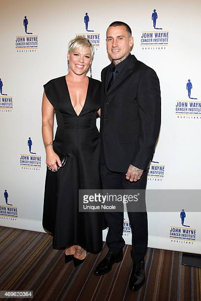 Singer Pink and Carey Hart arrive at the 30th Annual John Wayne Odyssey Ball at Regent Beverly Wilshire Hotel on April 11 2015 in Beverly Hills...