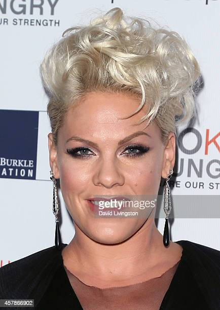 Singer Pink attends the Share Our Strength's No Kid Hungry Campaign fundraising dinner at Ron Burkle's Green Acres Estate on October 25 2014 in...