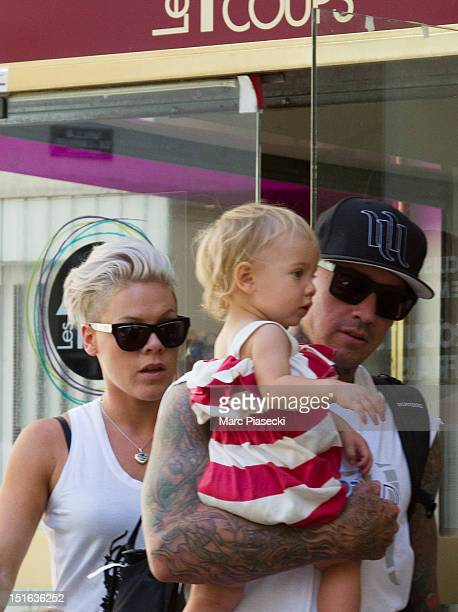 Singer Pink her husband Carey Hart and their baby Willow Sage Hart are seen leaving the 'Les 400 coups' restaurant on September 9 2012 in Paris France