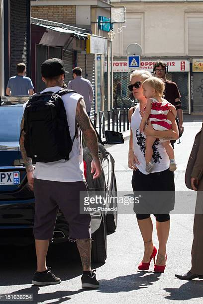 Singer Pink her husband Carey Hart and their baby Willow Sage Hart are seen arriving at the 'Les 400 coups' restaurant on September 9 2012 in Paris...