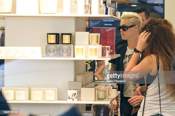 Singer Pink is seen at the 'Colette' store on April 17 2013 in Paris France