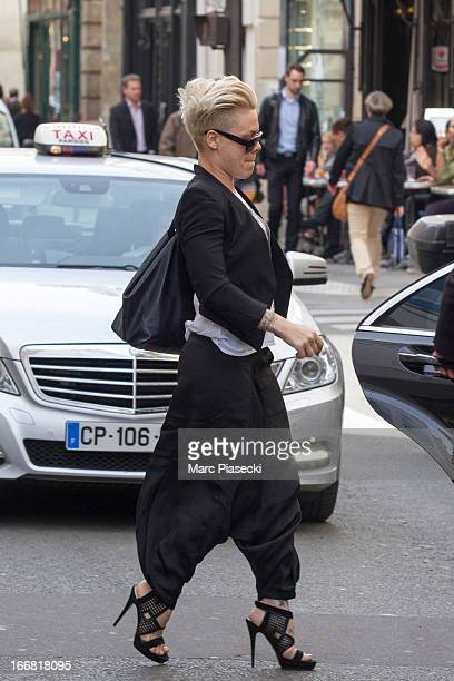 Singer Pink is seen leaving the 'Colette' store on April 17 2013 in Paris France