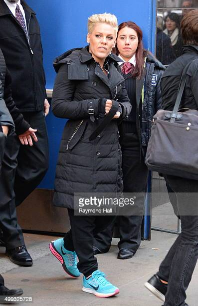 Singer Pink is seen outside 'Good Morning America' on November 30 2015 in New York City