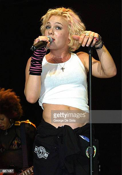 Singer Pink performs at the Z100 Jingle Ball December 13 2001 at Madison Square Garden New York City