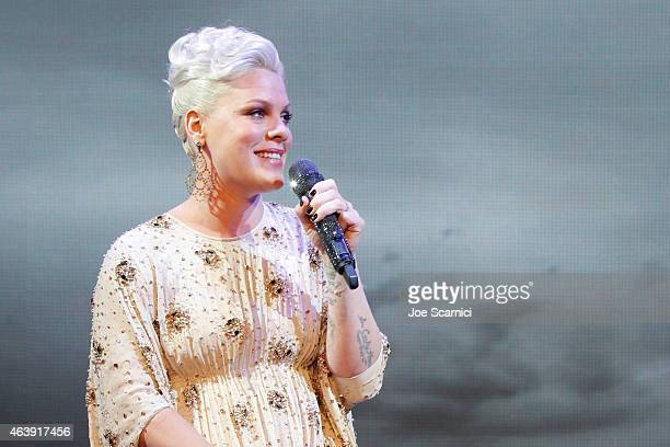 Singer Pink performs onstage at the 2nd Annual unite4humanity presented by ALCATEL ONETOUCH at the Beverly Hilton Hotel on February 19 2015 in Los...