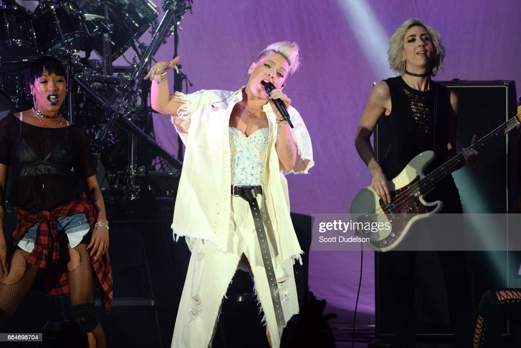 Singer Pink (C) performs onstage during the 5th annual 'We Can Survive' benefit concert presented by CBS Radio at the Hollywood Bowl on October 21, 2017 in Hollywood, California.