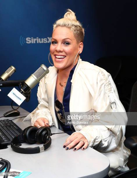 Singer Pink visits 'The Morning Mash Up' on SiriusXM Hits 1 Channel at the SiriusXM Studios on October 16 2017 in New York City