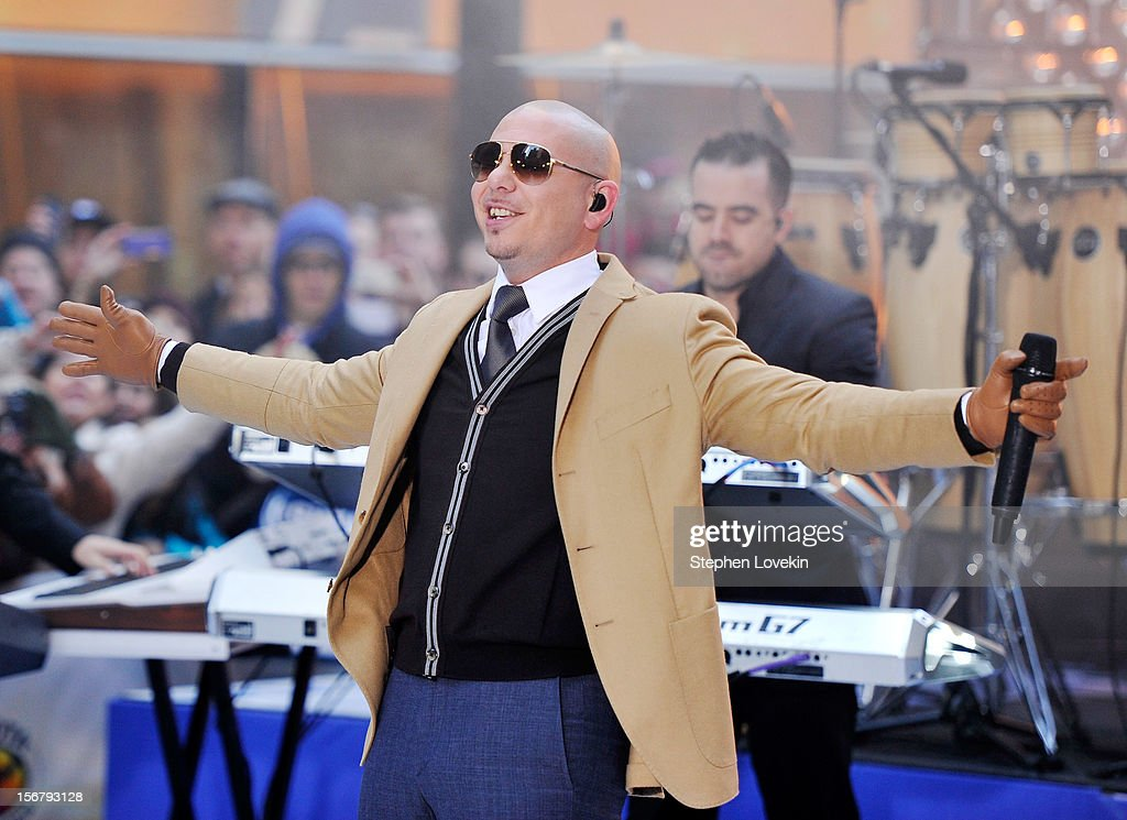 Singer Pitbull performs on NBC's 'Today' at Rockefeller Plaza on November 21, 2012 in New York City.