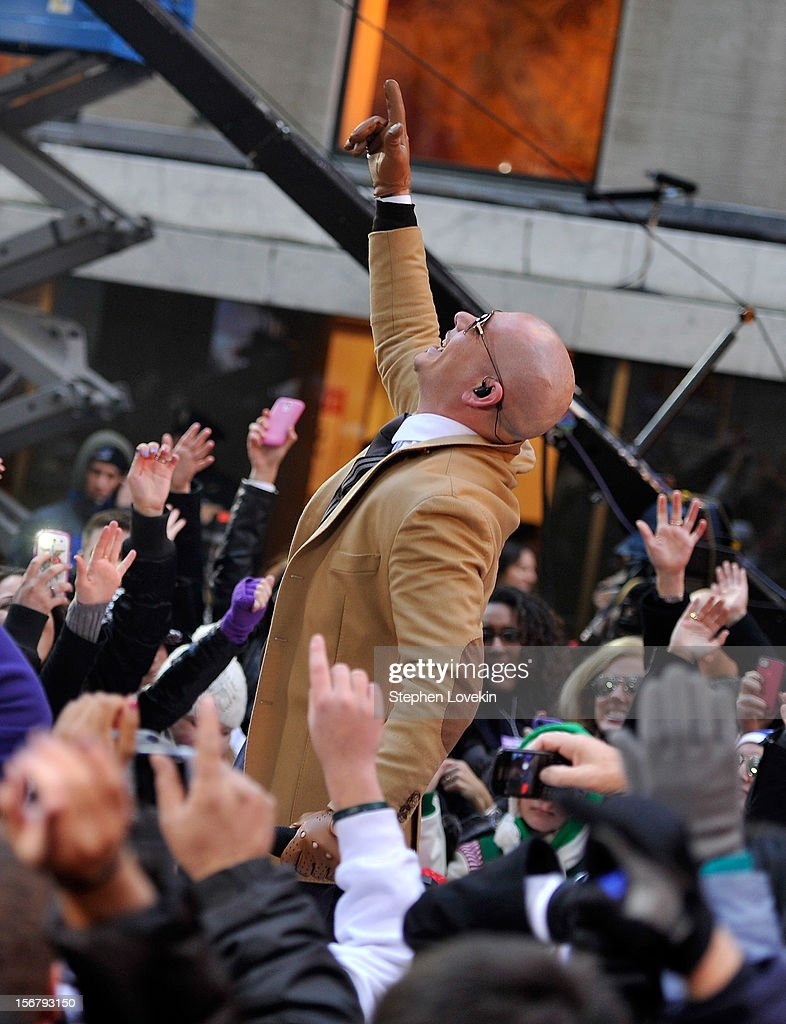 Singer Pitbull performs on NBC's 'Today' at Rockefeller Plaza on November 21, 2012 in New York City.